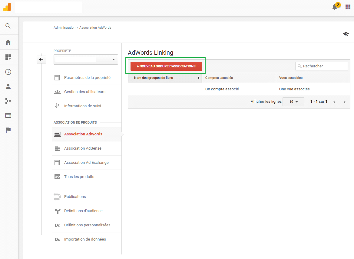 Faire l'association entre son Google Analytics et son compte AdWords