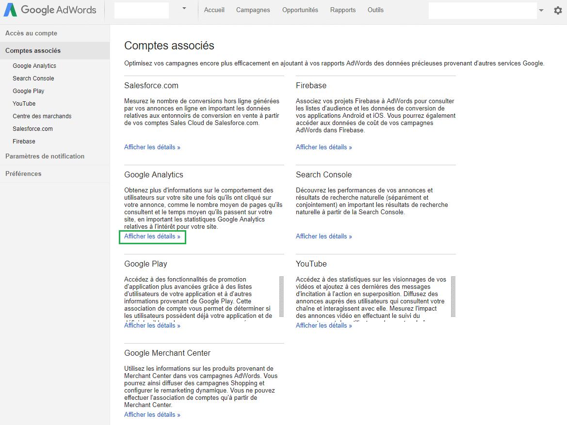 d'associer votre compte AdWords à d'autres services Google