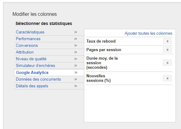 suite des statistiques relatives à Google Analytics dans AdWords