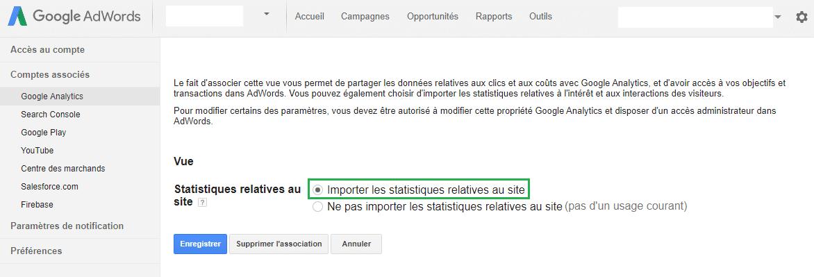 Google AdWords importer les statistiques relatives au site