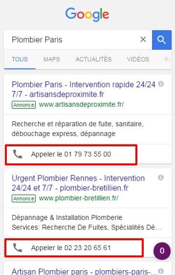 AdWords extension d appel mobile