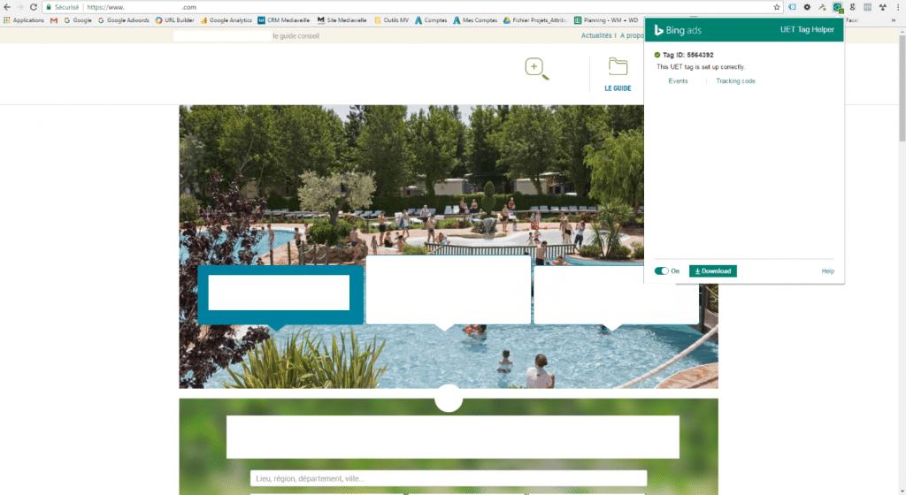 Bing Ads : activer l'extension du code de suivi