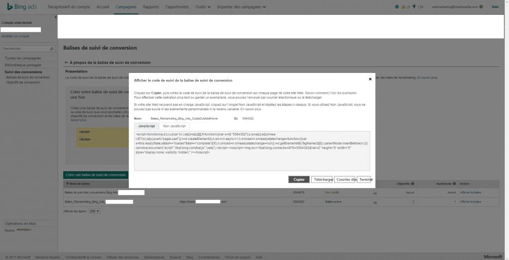 Bing Ads : implémenter un code de suivi marqueur