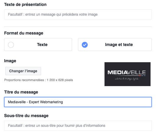 Facebook Messenger : configurer le contenu du message