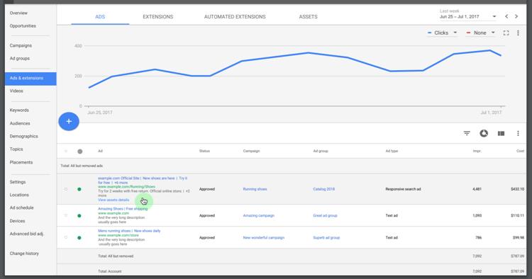 Apercu Responsive Search Ads dans la nouvelle interface