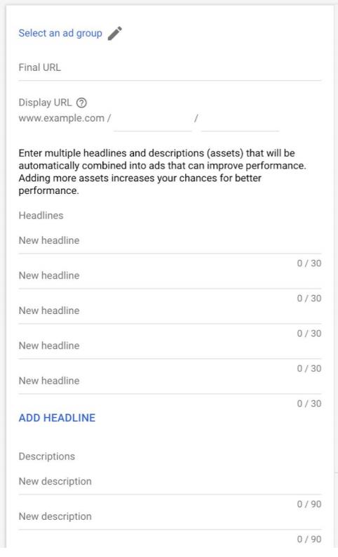 Un Apercu des champs Responsive Search Ads