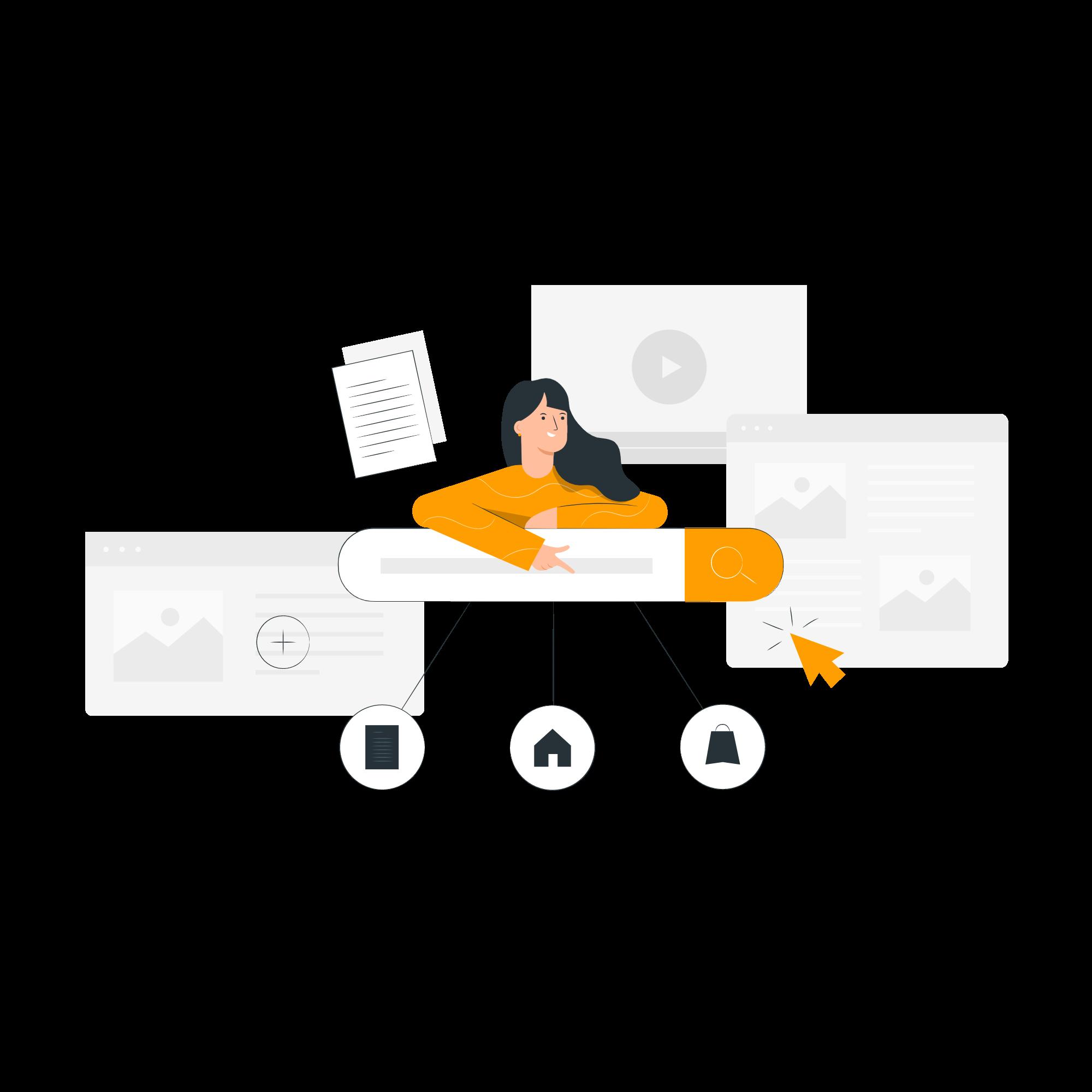 Illustration : petit personnage au-dessus d'une barre de recherche