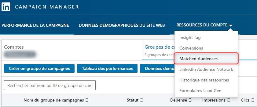 Capture d'écran du Campaign Manager de LinkedIn
