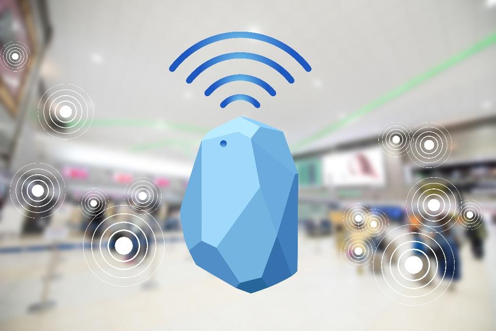 Illustration du concept de beacon et de signaux Bluetooth