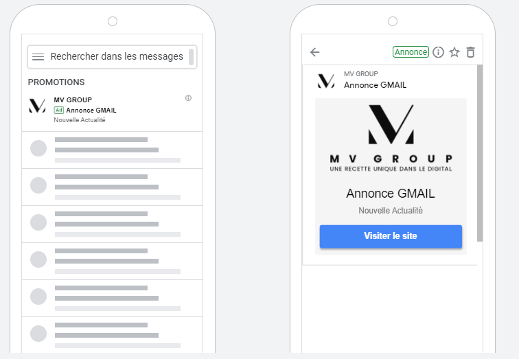 Exemple d'annonce Gmail