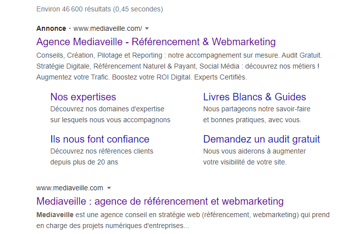 Exemple d'annonce Google Ads