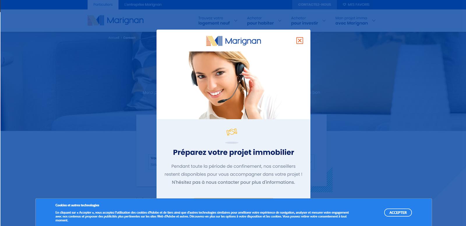 Bandeau sur le site de Marignan invitant à préparer son projet immo