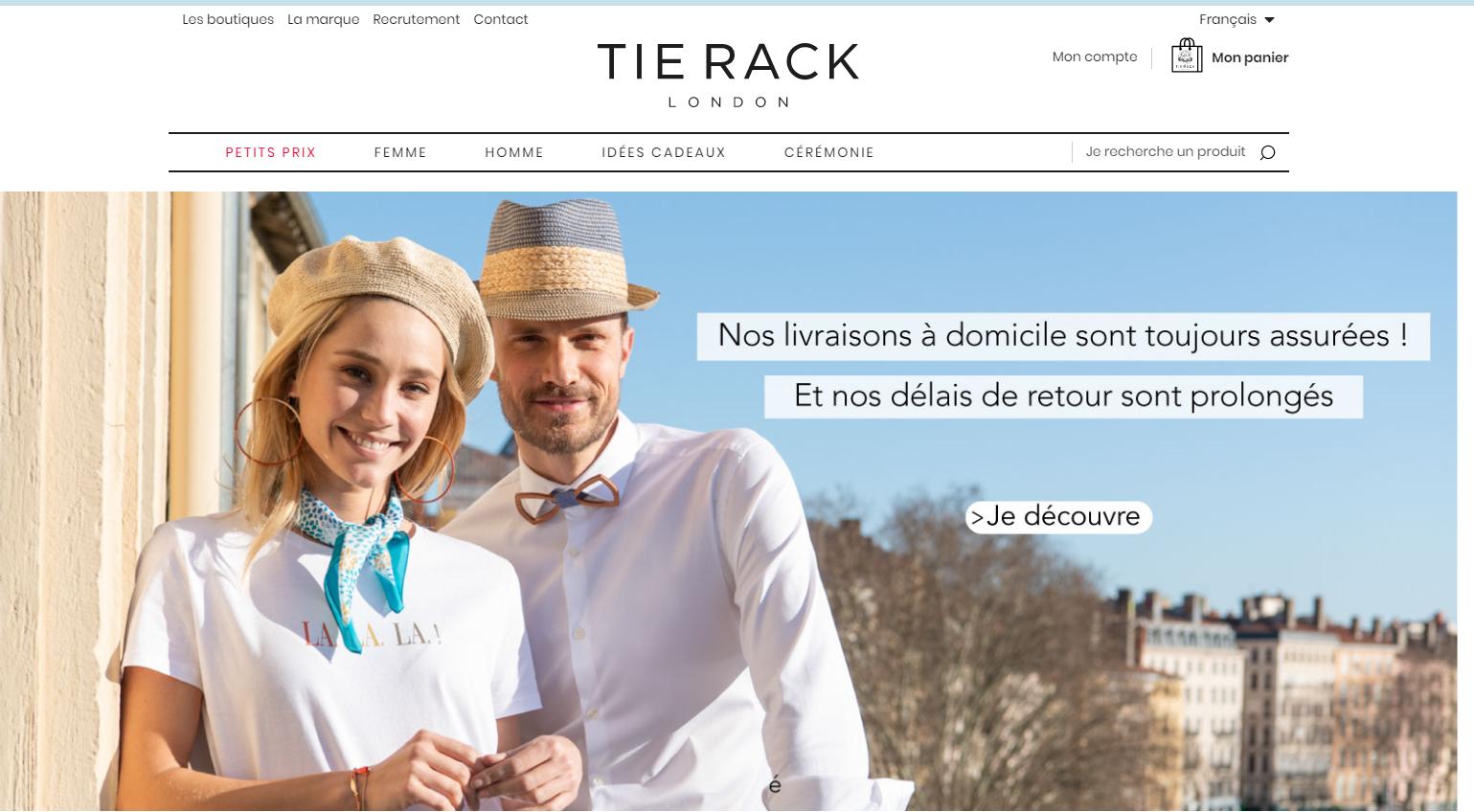 Bandeau de réassurance sur le site TieRack