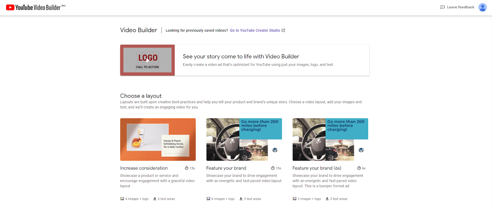 Interface du Youtube Video Builder