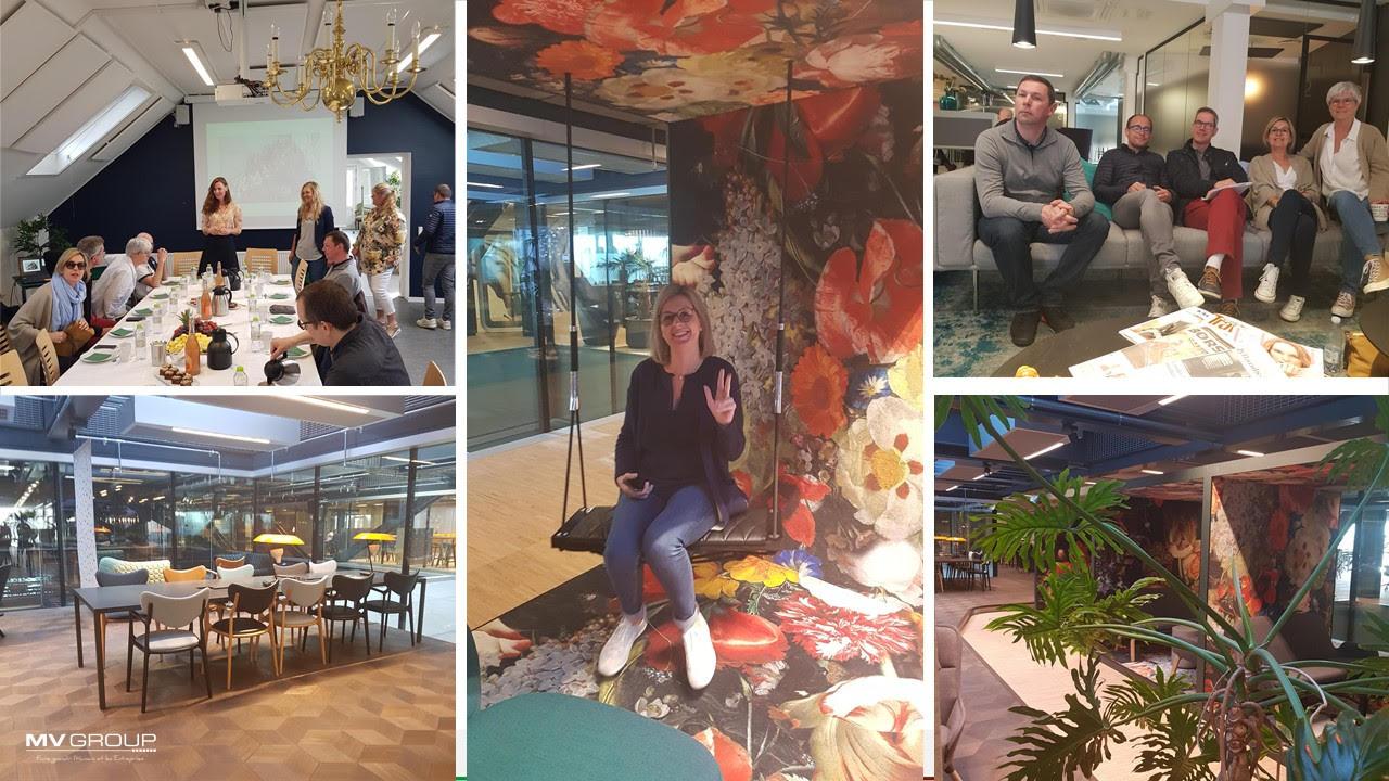 Mosaïque de photos de la learning expedition au Danemark : repas, locaux, photo de groupe